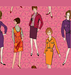 vintage dressed girl 1960s style retro fashion vector image