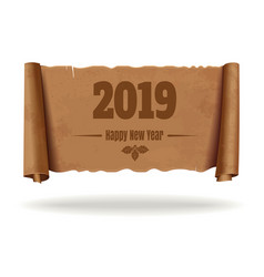 vintage scroll with inscription happy new year vector image
