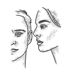 Whisper talk sketch engraving vector