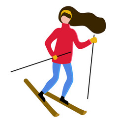 woman with long hair skiing hobbrunette vector image