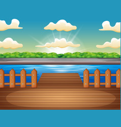 Wooden pier overlooking lake at sunrise vector