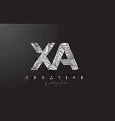 Xa x a letter logo with zebra lines texture vector