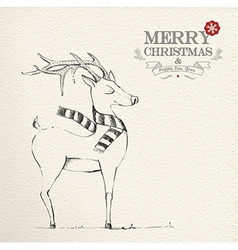 Christmas hand drawn unique reindeer vector image