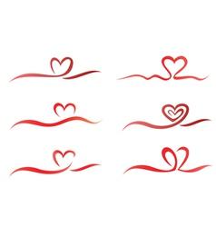 Heart set ribbons vector