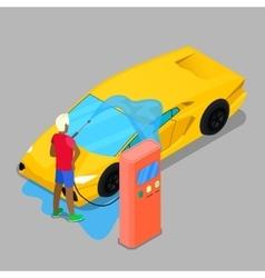 Isometric Hand Car Wash Driver Washing Car vector image vector image