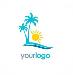 palm tree beach sunny logo vector image vector image