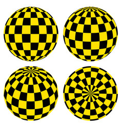 Set 3d spheres pattern yellow black squares taxi vector