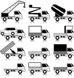 set of icons - transportation symbols black on whi vector image vector image