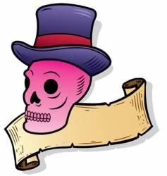 top hat skull vector image vector image