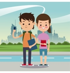 boy girl mobile books bag back school urban vector image