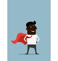 Cartoon african american superman hero businessman vector image