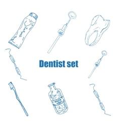 Dental icons reflection theme vector