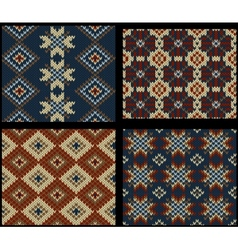 Four seamless knitted swatches with folk ornament vector image