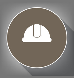 hardhat sign white icon on brown circle vector image vector image