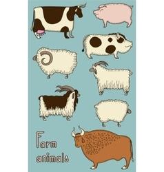 Set of 8 cute farm animals vector image vector image