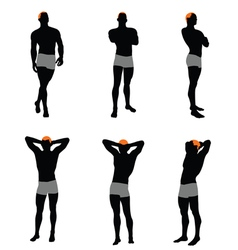 Set of men silhouette vector image