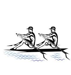 team rowing vector image