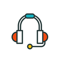Thin lines connection icon outline of headphones vector