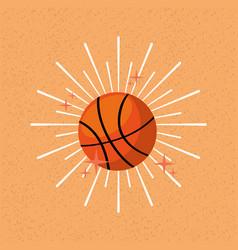 ball sport basketball sunburst color background vector image