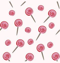 red lollipops seamless pattern vector image vector image