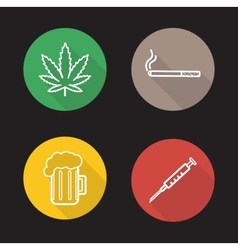Bad habits linear icons set vector image vector image