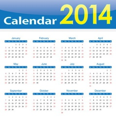 calendar 2014 popular template on isolated backgro vector image