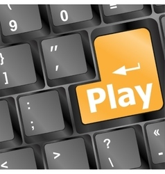 Computer keyboard with play key - technology vector image