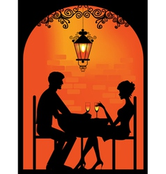 couple dinning Silhouette vector image