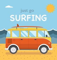 Travel Surfing Coach Bus on Summer Beach vector image vector image