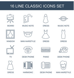 16 classic icons vector