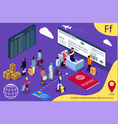 airport isometric of reception and passport vector image