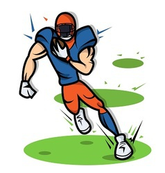 American Football Player cartoon with big muscle vector
