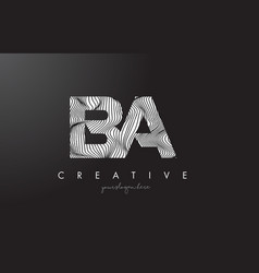 Ba b a letter logo with zebra lines texture vector