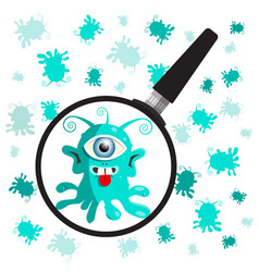 Bacteria - germs with magnifying glass vector