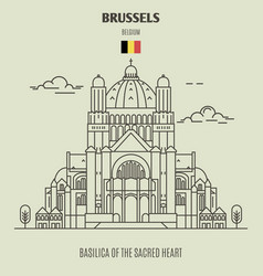 Basilica of the sacred heart in brussels vector