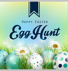 beautiful easter blue background vector image