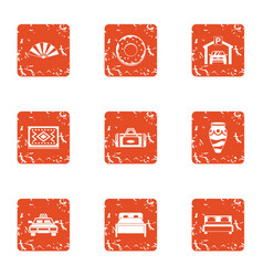 Bedroom suite icons set grunge style vector