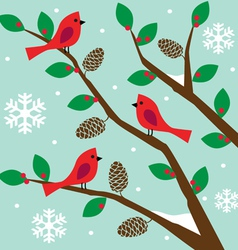 Birds on tree vector