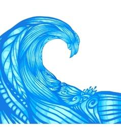Blue ornate doodle wave background vector image