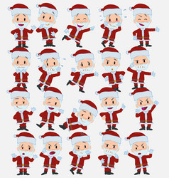 Cartoon character santa claus set with different vector