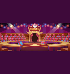 Cartoon circus arena with scene seats flags vector