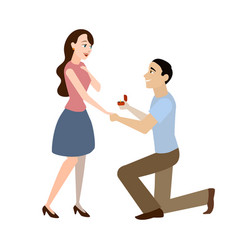 Cartoon offer of marriage man and woman vector