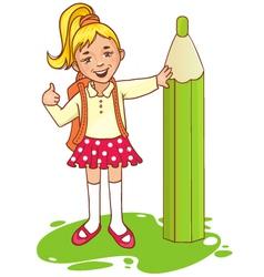 Cartoon schoolgirl near big pencil esp10 vector image