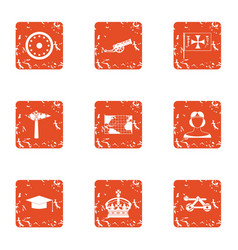 Chivalric orden icons set grunge style vector