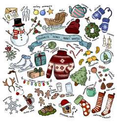 christmas winter favourites doodles with vector image