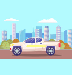 Cityscape with modern architecture and van on road vector