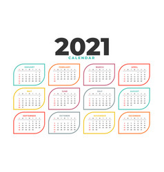 Clean 2021 new year calendar template design vector