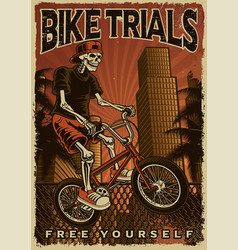 colourful poster a skeleton is jumping on bike vector image