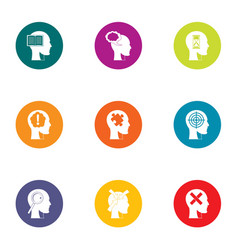 Conscious mind icons set flat style vector