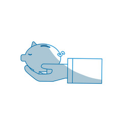 Contour save pig in the hand vector
